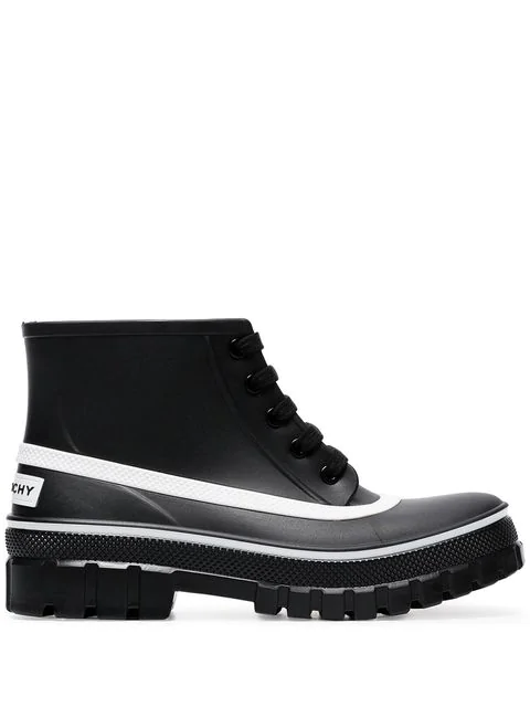 Givenchy Black Glaston Flat Lace-Up Leather Ankle Boots In 001 Black