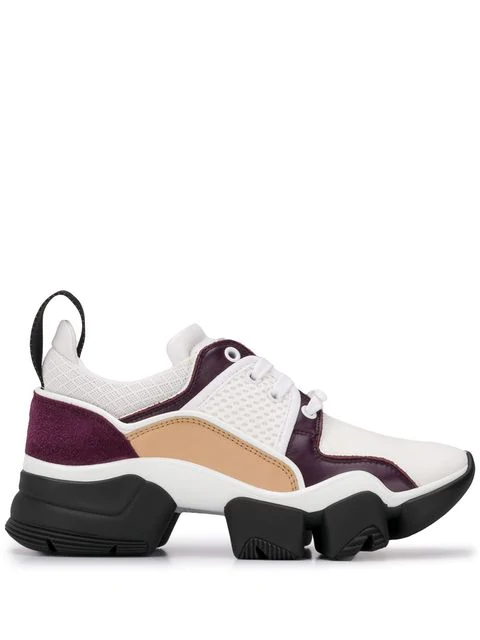Givenchy Jaw Leather And Mesh Running Sneakers In White