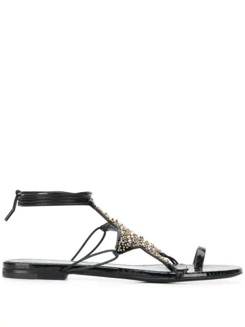 Saint Laurent Embellished Star Sandals - 黑色 In Black