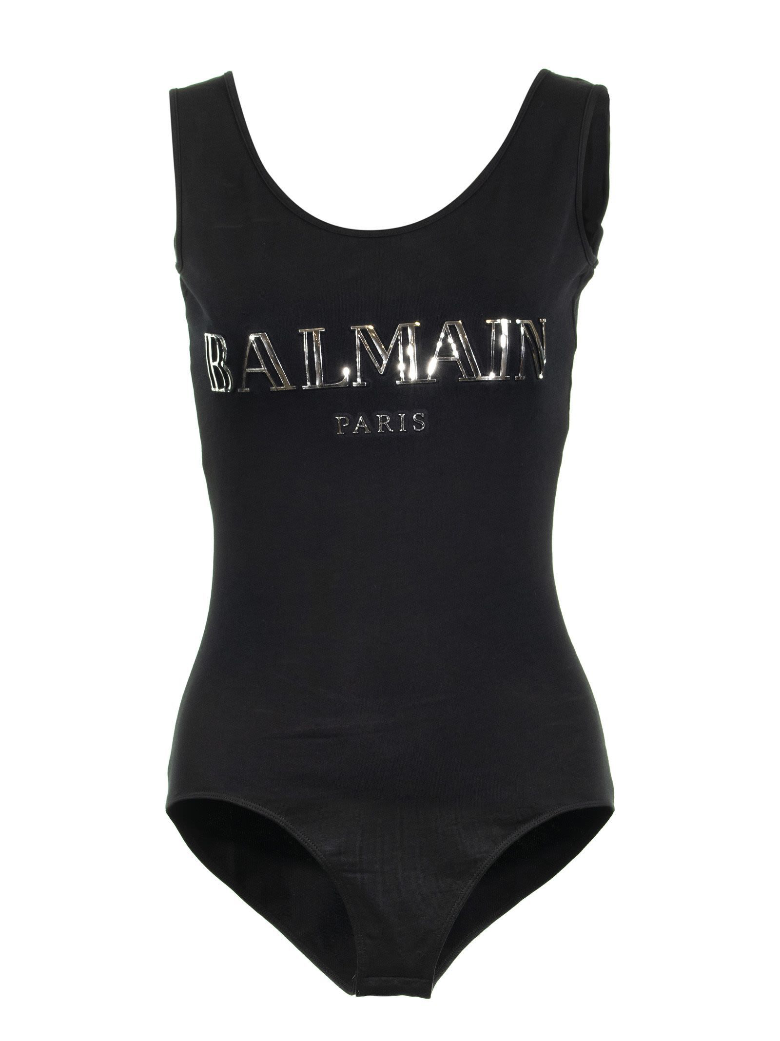 Balmain Logo Printed Bodysuit In Black