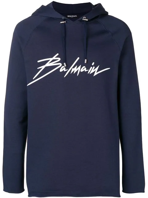 Balmain Logo Print Cotton Sweatshirt Hoodie In Blue