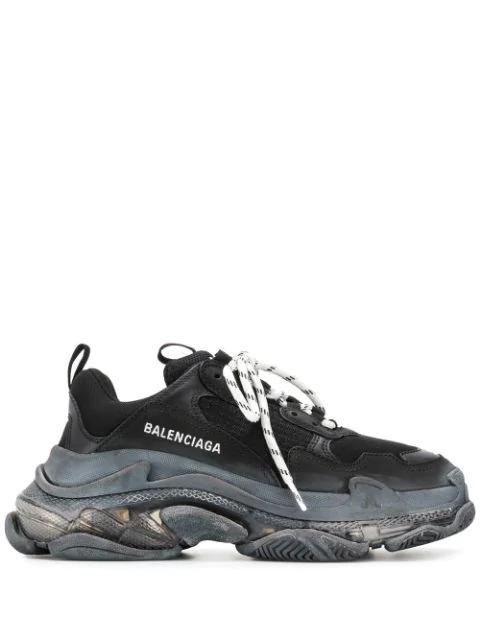 Balenciaga Triple S Clear Sole 品牌标志刺绣皮革牛巴革网眼运动鞋 In Black
