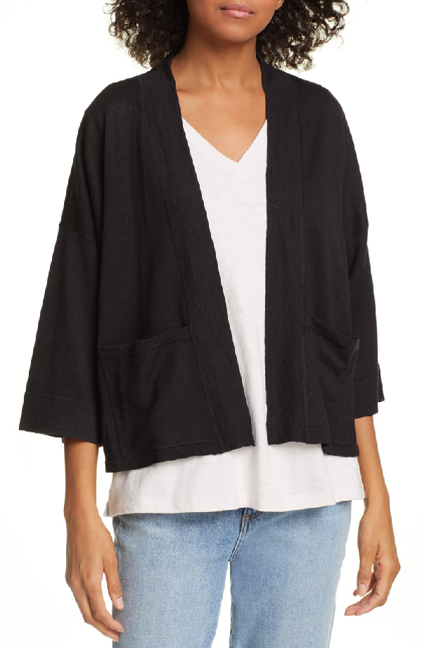 4bd15aab1e9 Eileen Fisher Plus Size Open-Front 3 4-Sleeve Short Cardigan With Pockets