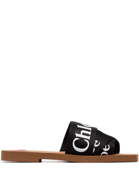 ChloÉ Women's Woody Logo Slide Sandals In 001 Black