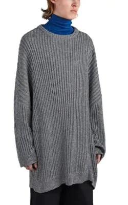 Raf Simons Oversized Cut-Out Ribbed-Knit Sweater In Gray