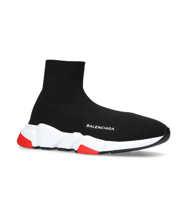 Balenciaga Speed Sock Stretch-knit Slip-on Sneakers In Black