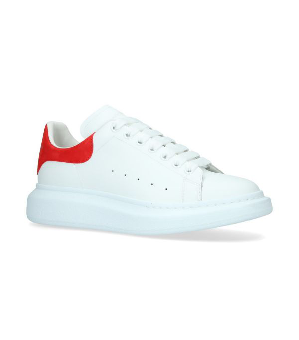 Alexander Mcqueen 'oversized Sneaker' In Leather With Suede Collar In White ,red