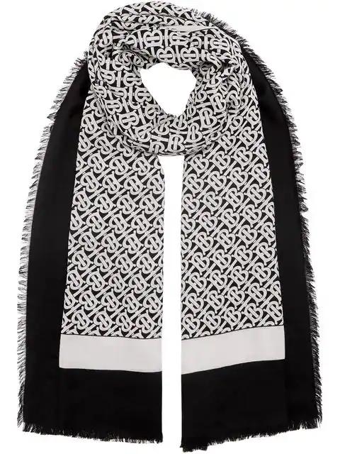 Burberry Monogram Print Lightweight Cashmere Scarf In Black ,white