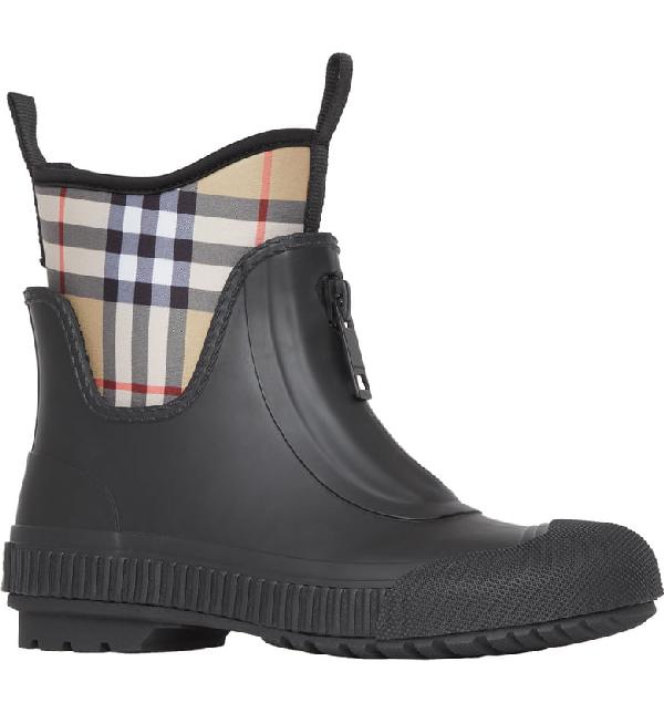 Burberry Flinton Zip Front Rubber Boot In Black Rubber