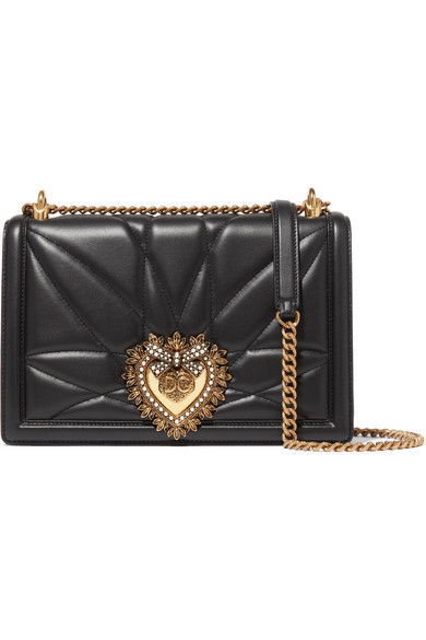 Dolce & Gabbana Large Devotion Lambskin Leather Shoulder Bag - Black