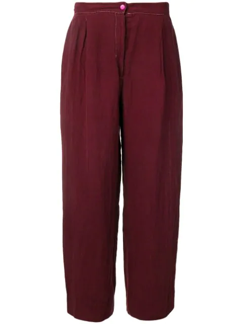 Krizia Vintage 1970's Loose Trousers In Red