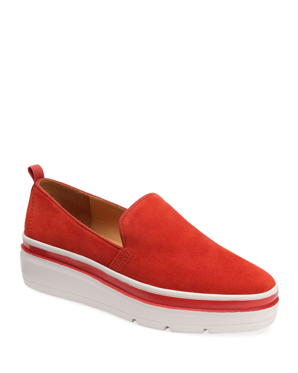Bill Blass Sutton Suede Chunky Sneakers In Cherry Tomato
