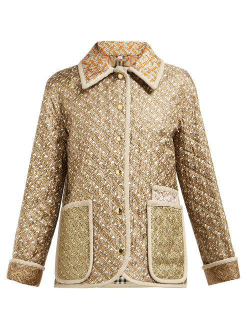 Burberry Monogram-Print Single-Breasted Quilted Silk Jacket In Beige