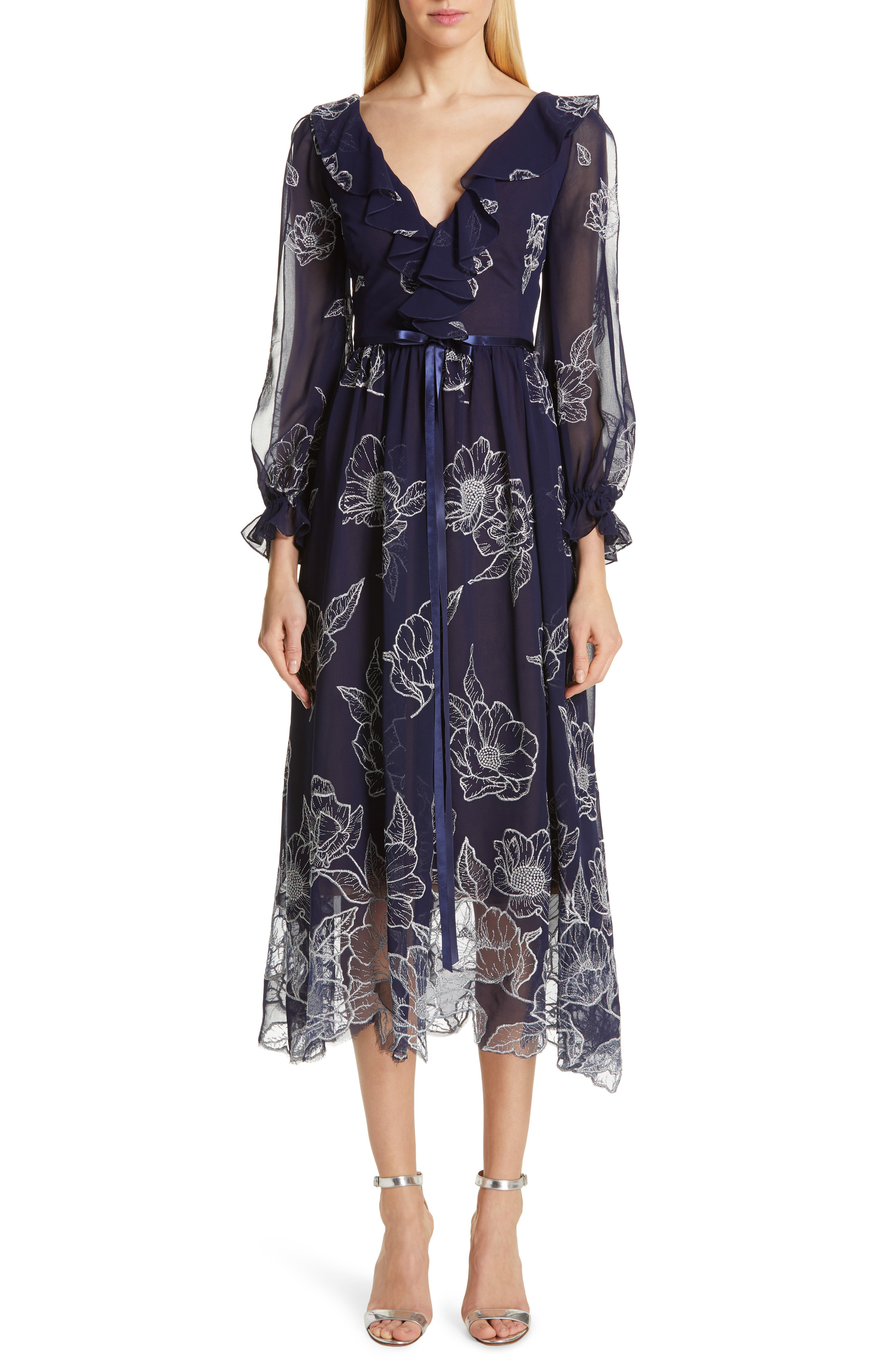 7e5fc6638bce7 Marchesa Notte Floral Embroidered Long-Sleeve Tulle & Chiffon Dress W/  Ruffle Trim In