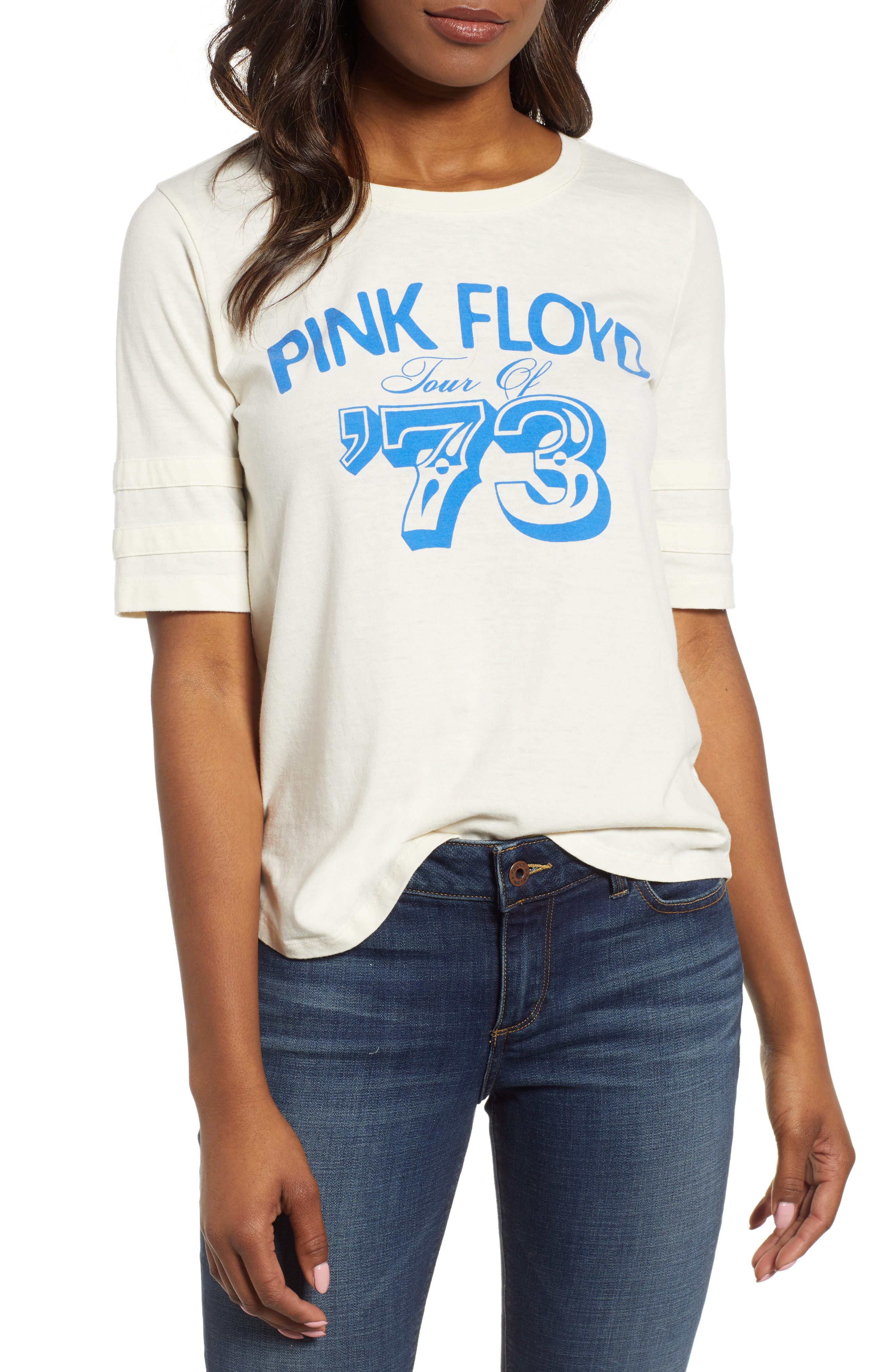 33fae19287a1e Lucky Brand Pink Floyd Football T-Shirt In White