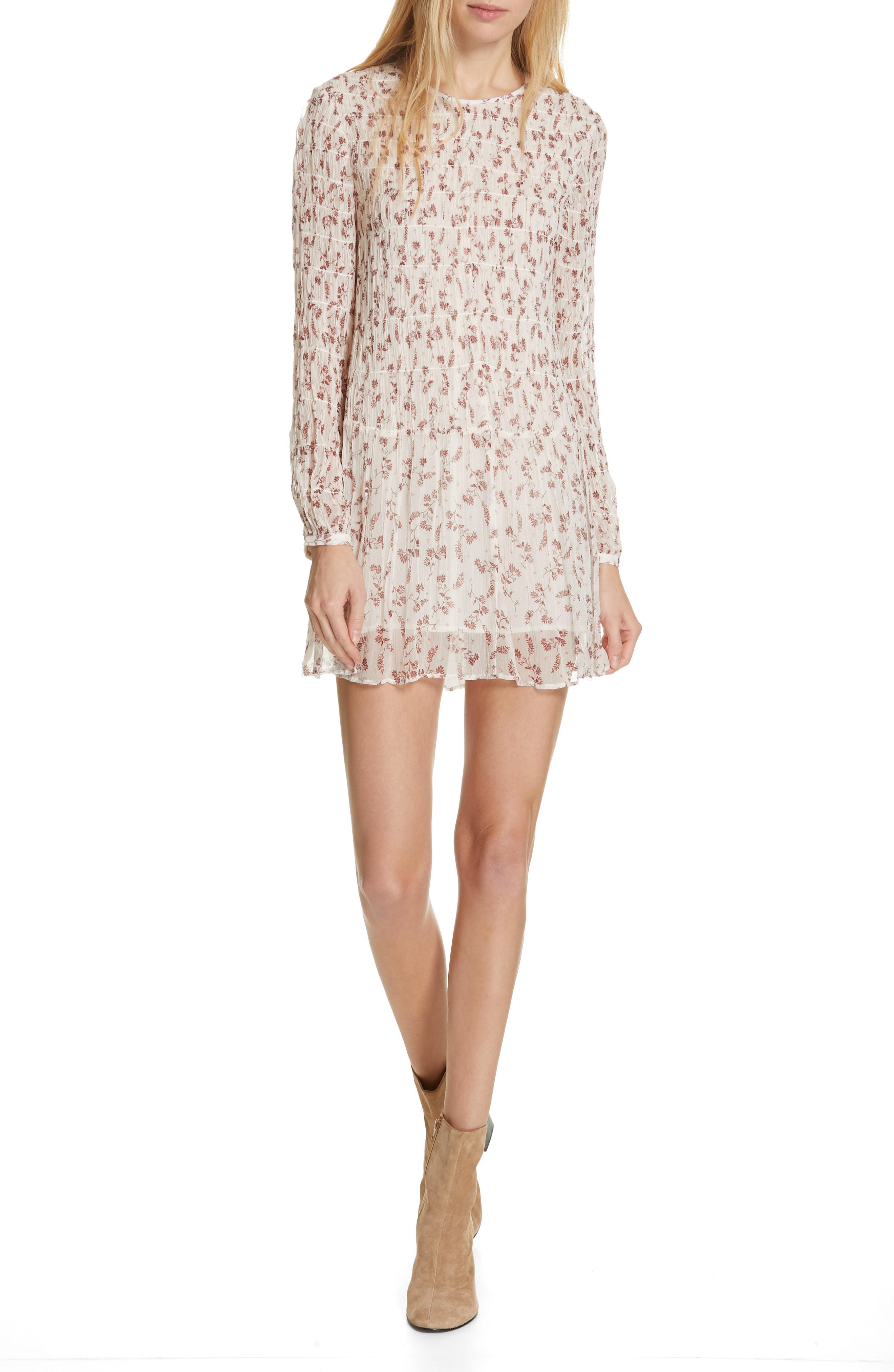 b0da06f1d2923 Frame Floral-Print Long-Sleeve Smocked Mini Dress In Off White Multi ...