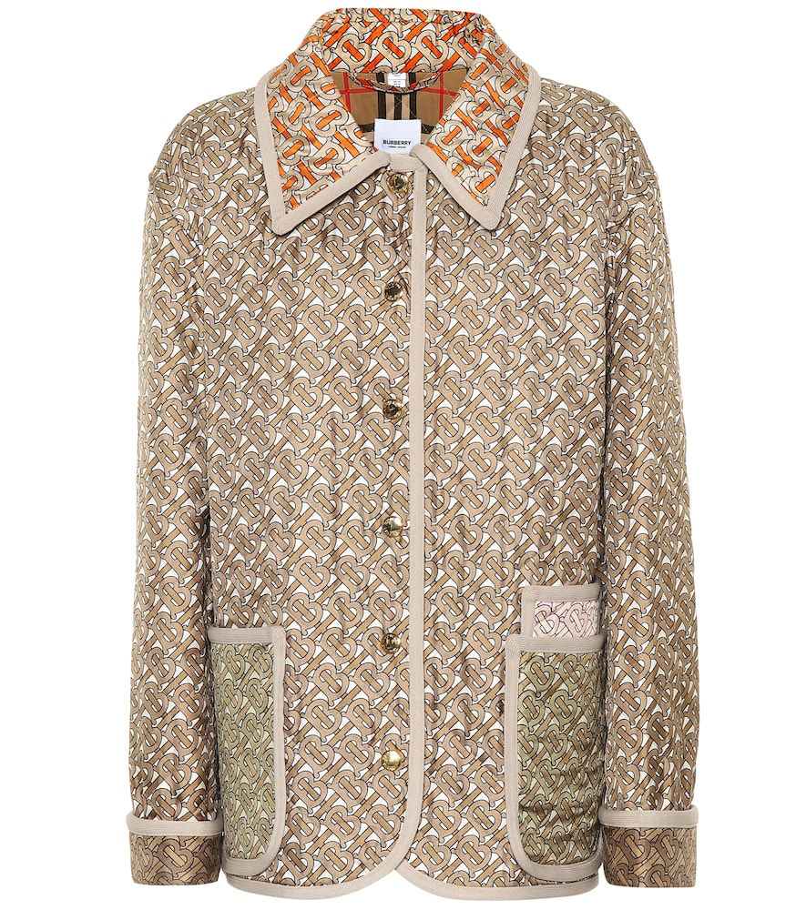 Burberry Monogram-Print Single-Breasted Quilted Silk Jacket In A7029 Archive Beige