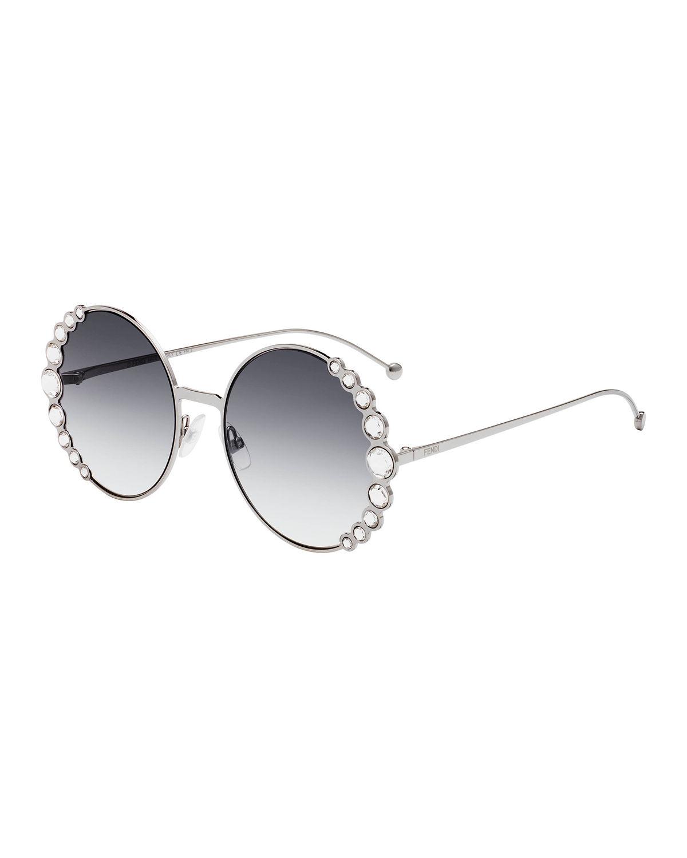 6178beb48f91 Fendi Round Metal Sunglasses W  Pearly Trim In Onyx