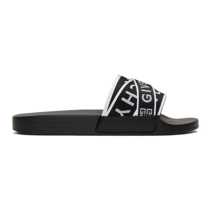 Givenchy Logo-jacquard Webbing, Leather And Rubber Slides In Black