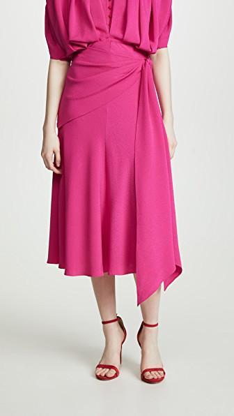 Anna October Tie Waist Midi Skirt In Fuschia