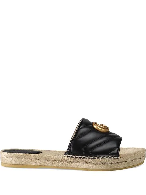 Gucci Logo-embellished Quilted Leather Espadrille Slides In 1000 Black