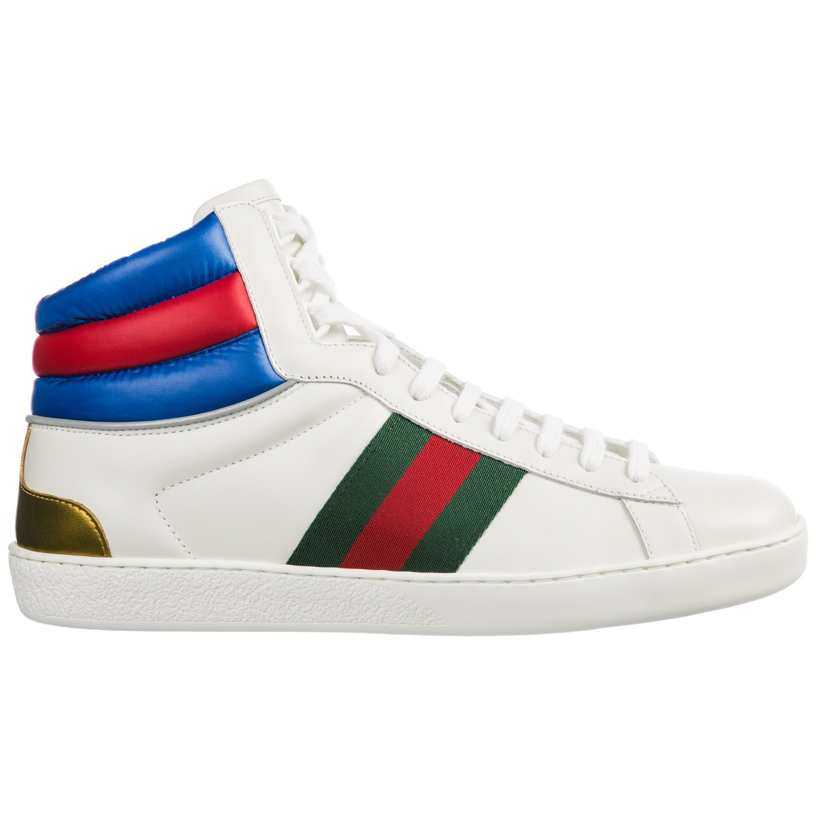 e5cda3879 Gucci Men's Shoes High Top Leather Trainers Sneakers Ace In White ...