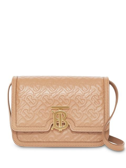 Burberry Small Monogram Leather Tb Bag In Neutrals