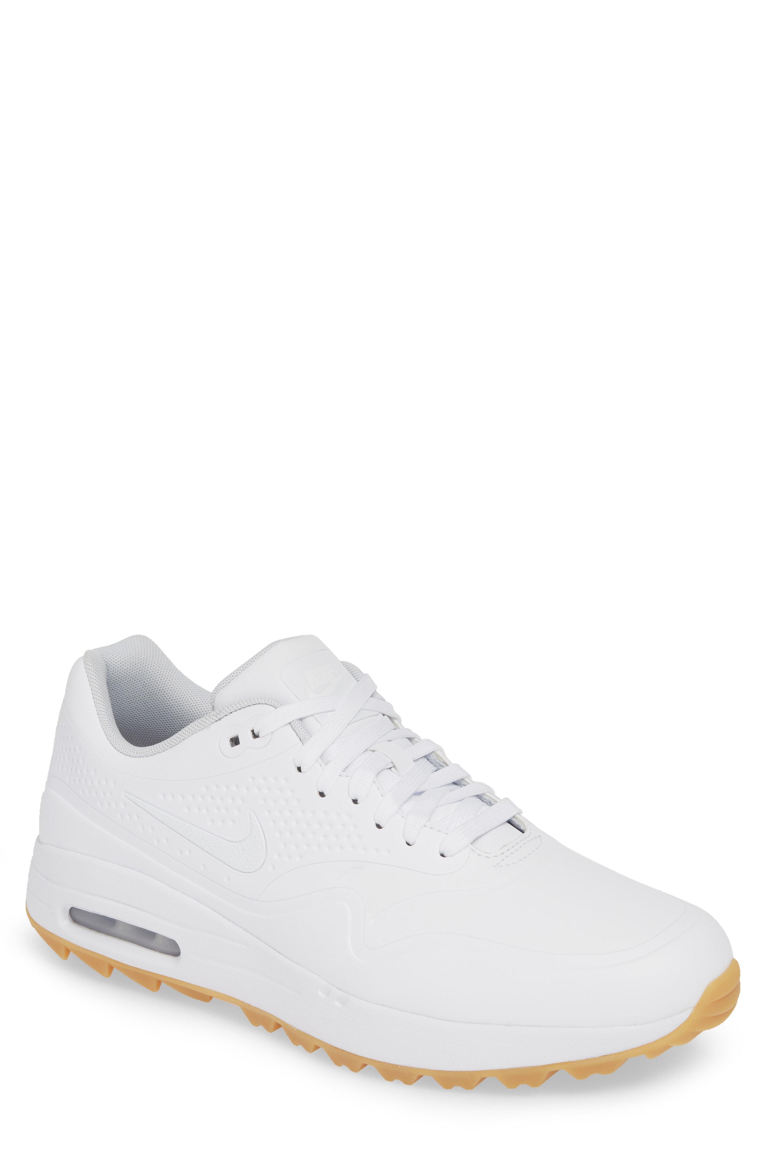 Nike Air Max 1 Golf Shoe In White Gum Light Brown Modesens