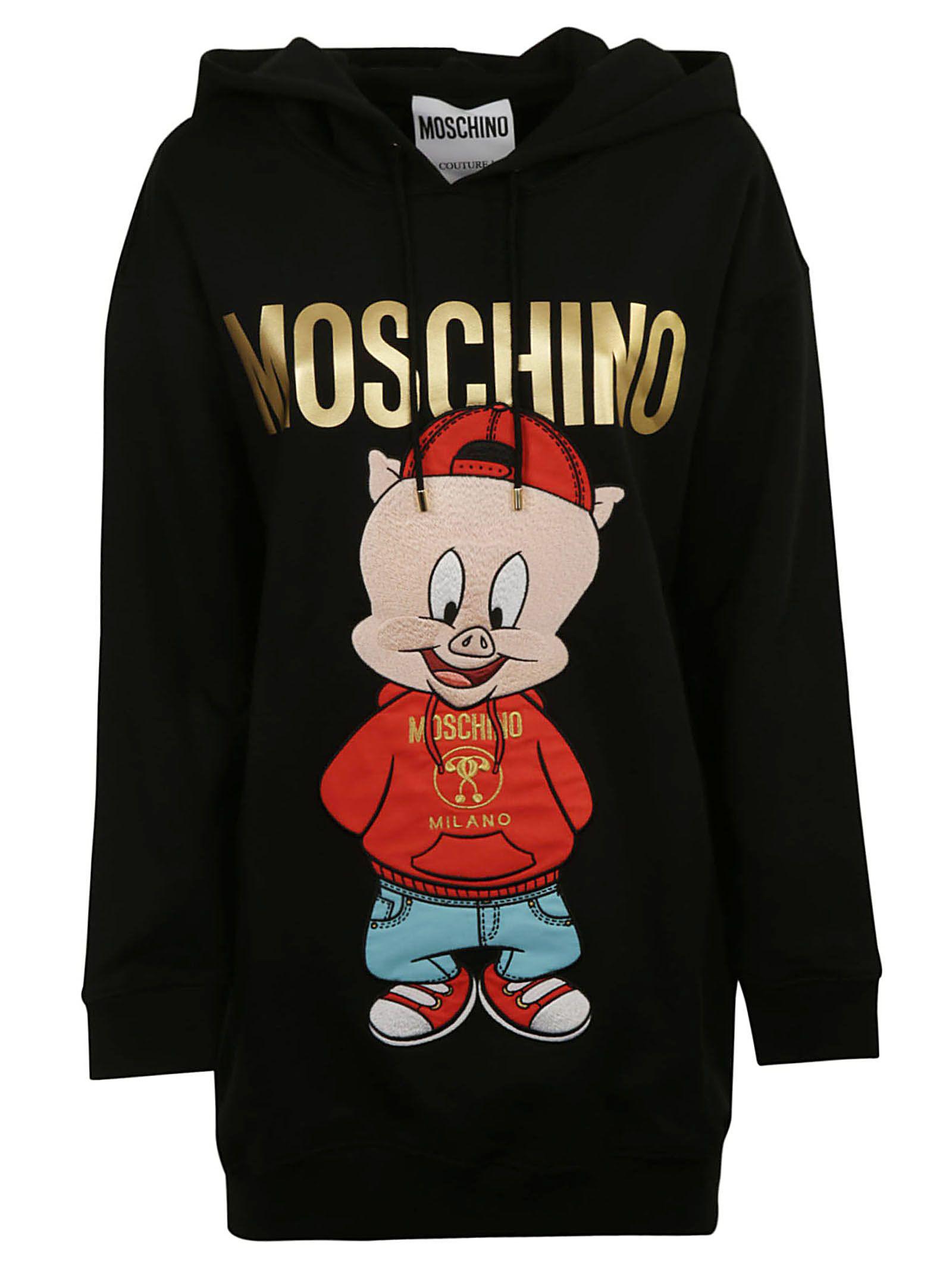 86d99d15e3 Moschino Cotton Fleece Dress With Hood In Black | ModeSens