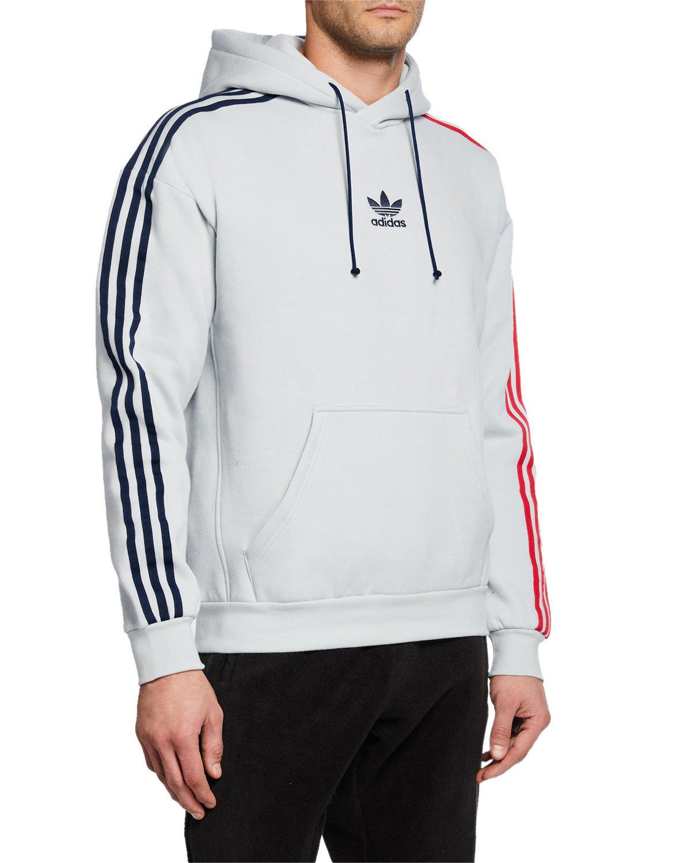 e709c65f475e Adidas Originals Adidas Men s Originals Fleece Three-Stripe Hoodie In Grey