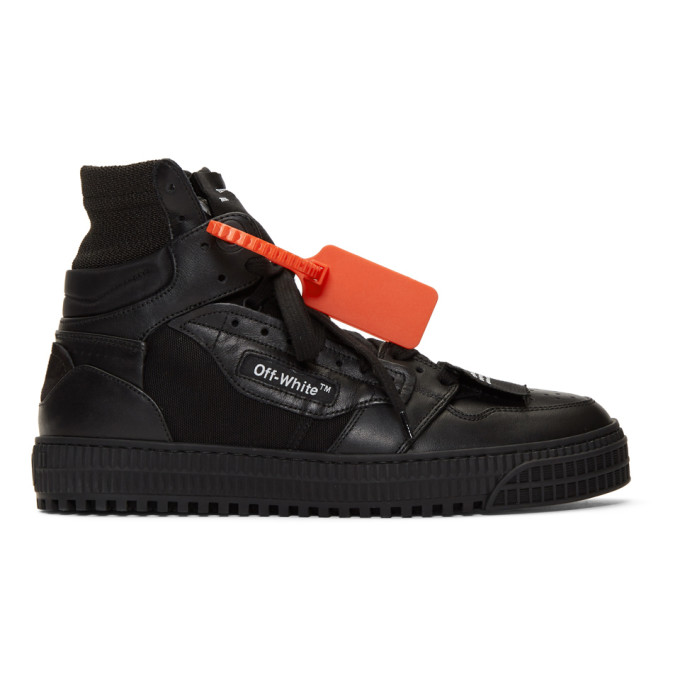 Off-white Off-court High-top Suede And Leather Trainers In Black