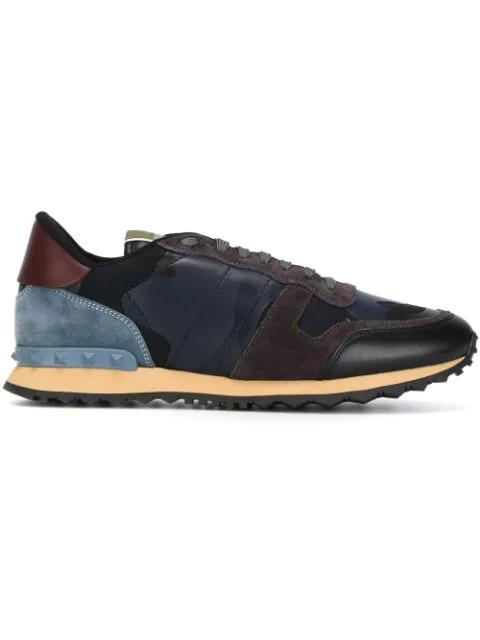 Valentino Men's Rockrunner Camo-print Sneaker, Blue, Blue Camo