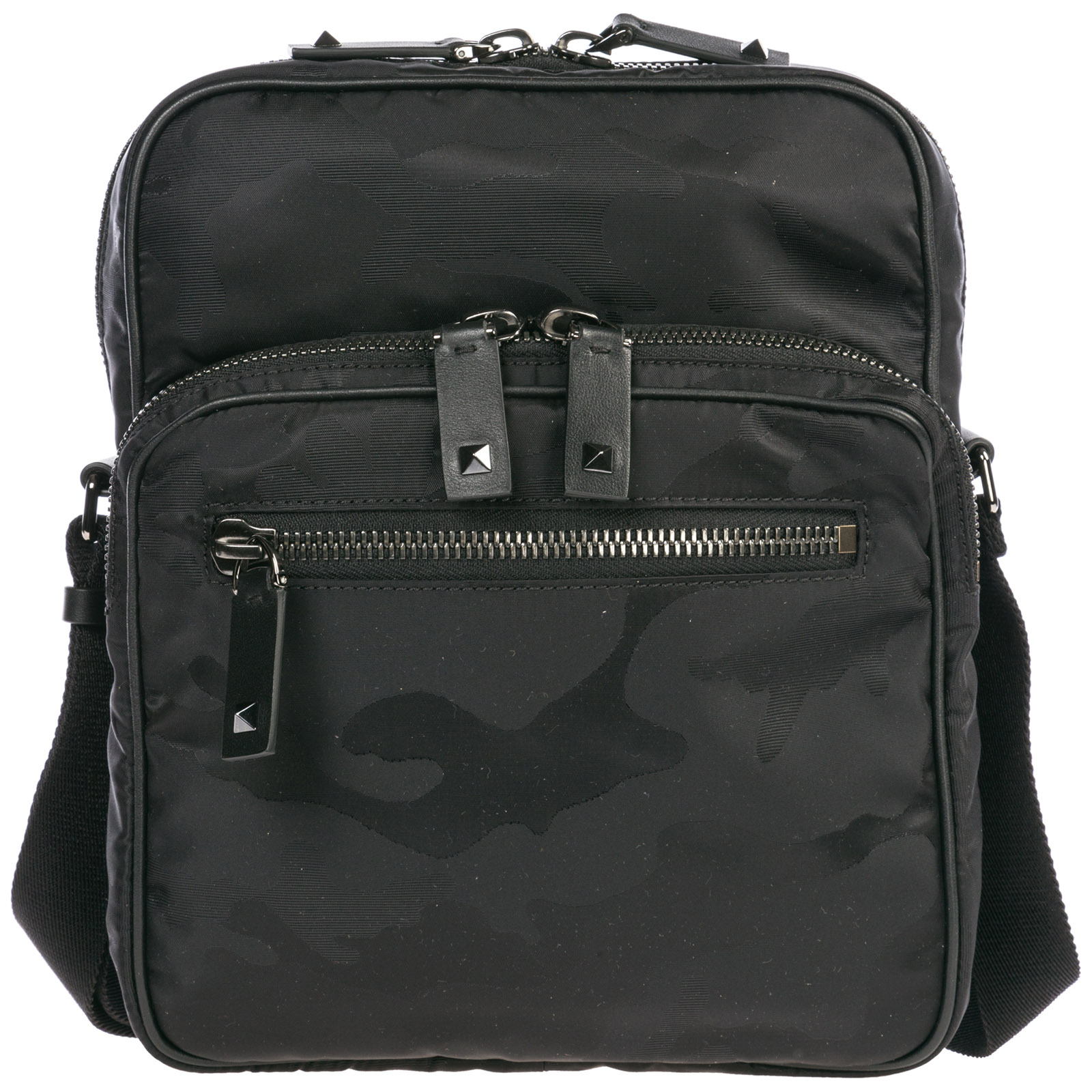Valentino Garavani Men's Nylon Cross-body Messenger Shoulder Bag In Black
