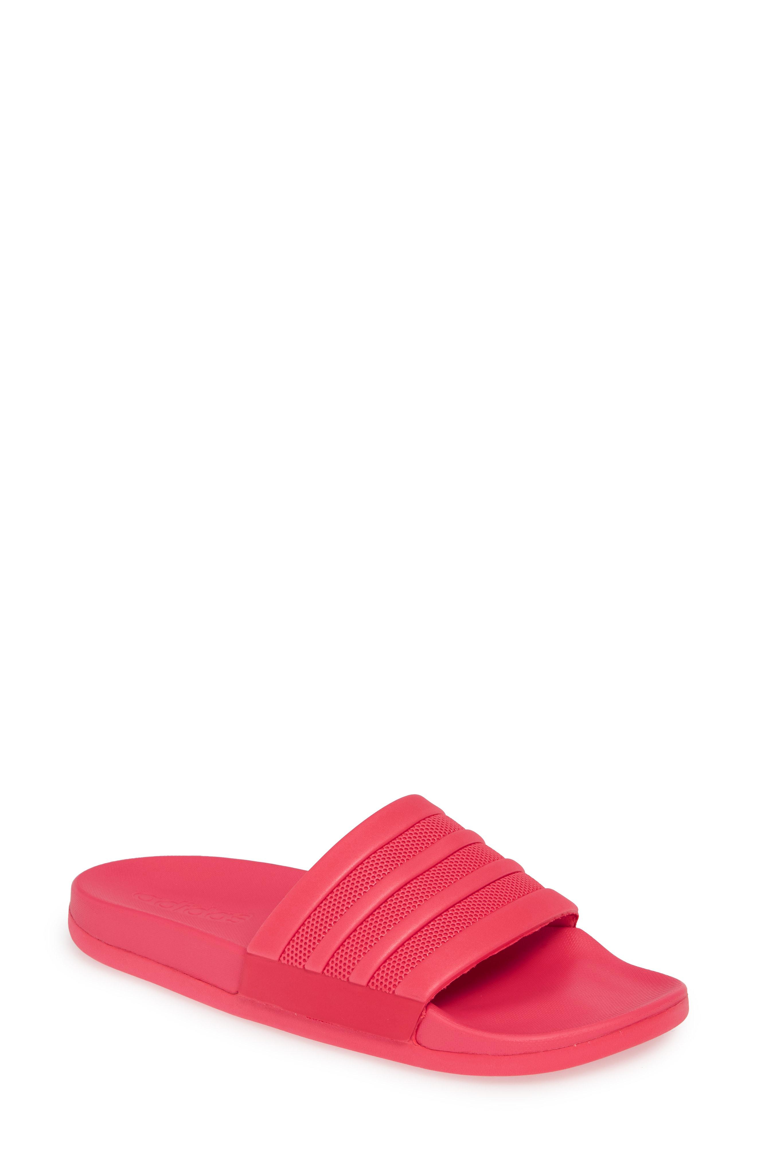 2a077ddd20da Adidas Originals Adilette Rubber Comfort Slide Sandals In Active Pink   Active Pink