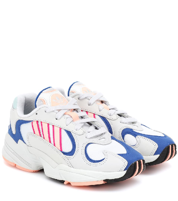 Adidas Originals Yung-1 Sneakers In White And Orange In Light Gray