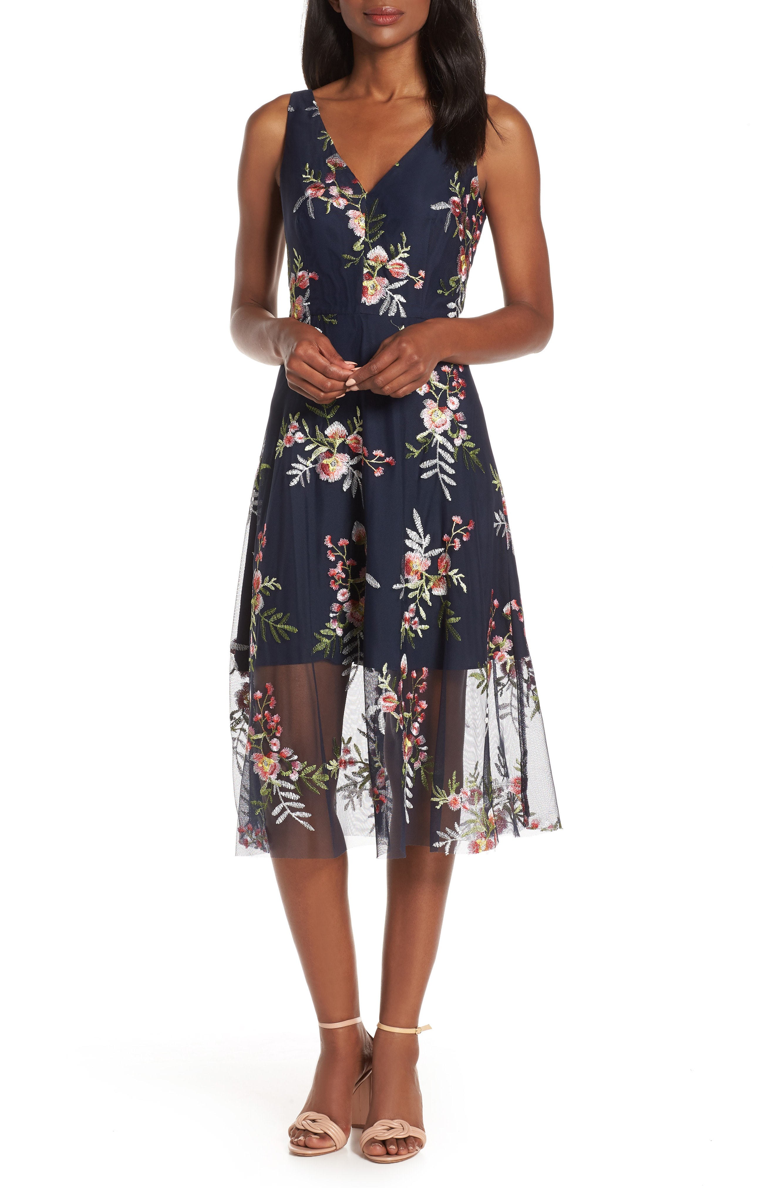 95300969284 Vince Camuto Embroidered Floral Fit   Flare Dress In Navy Pink ...