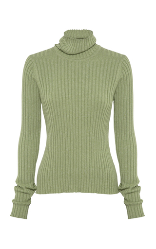 Anna Quan Heather Rib-Knit Cotton Turtleneck In Green