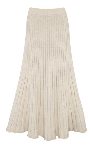 Anna Quan Cleo Pleated Cotton Maxi Skirt In Neutral