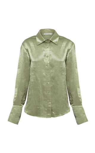 Anna Quan Lana Crushed Satin Shirt In Green