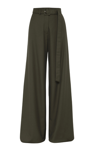Anna Quan Max Belted Crepe Wide-leg Pants In Green