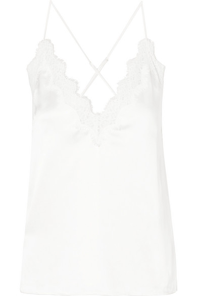 Cami Nyc The Everly Lace-trimmed Silk-charmeuse Camisole In White