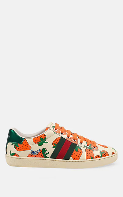 Gucci New Ace Strawberry-Print Leather Trainers In Multi