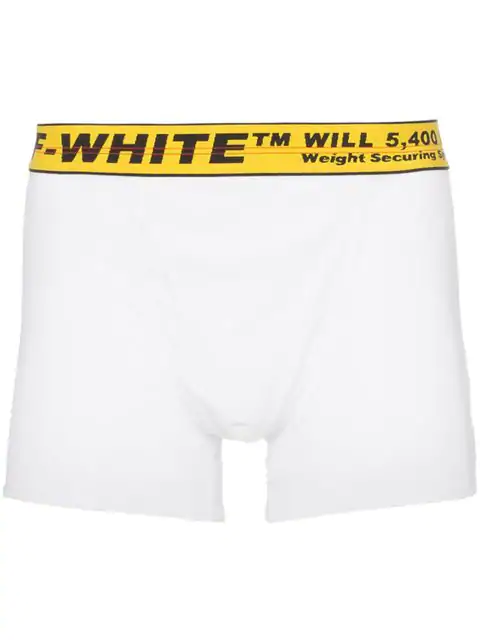 Off-white Logo-jacquard Cotton-blend Boxer Briefs In 0160 Whtylw