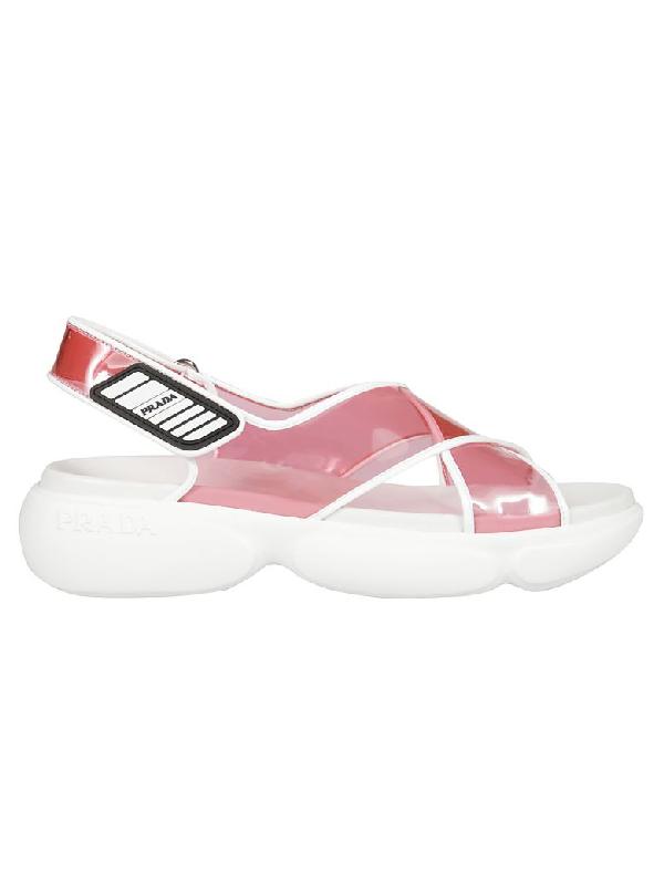 Prada Transparent Crisscross Pvc Sandals In Pink