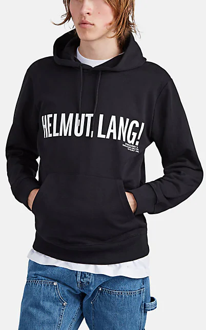 Helmut Lang Logo Cotton French Terry Hoodie In Black