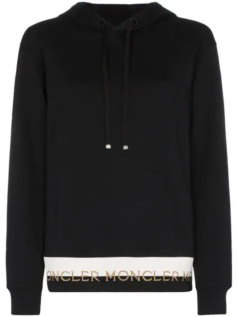 Moncler Intarsia-trimmed Cotton-blend Jersey Hoodie In Black