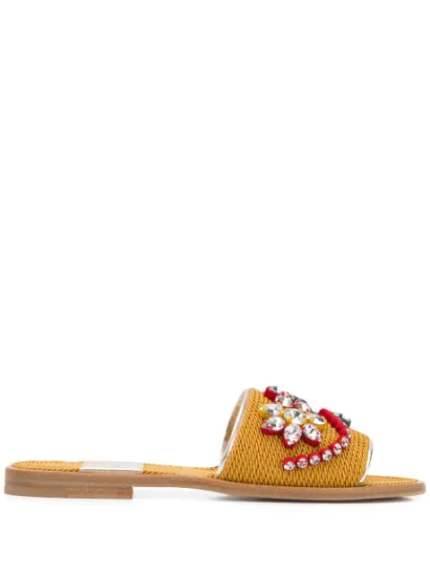Premiata Braided Crystal Embellished Slides - 金色 In Gold