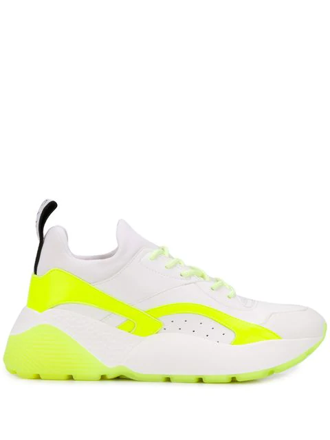 Stella Mccartney Eclypse Logo-Woven Neon Faux Leather, Suede And Neoprene Sneakers In 9076 Wht Neon Wh Wh W G B