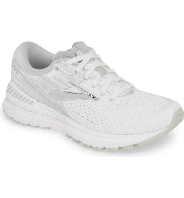 Brooks Adrenaline Gts 19 Running Shoe In White/ White/ Grey