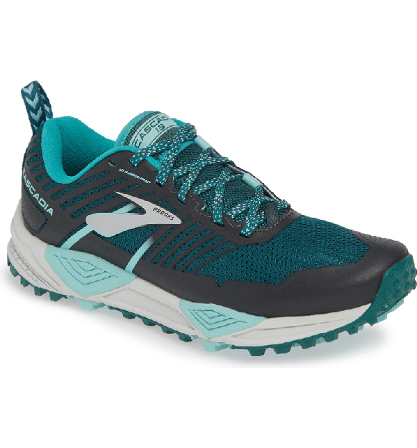 Brooks Cascadia 13 Trail Running Shoe In Teal/ Aqua/ Grey